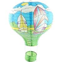 uxcell 吊り飾り 熱風バルーン ランタン パーティー 紙 帆船のパタン DIY ブルー 30cmの直径