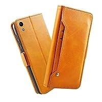 Huawei Honor 8A 財布 シェル Huawei Honor 8A シェル,プレミアム Moonmini 設計 PU レザー & 柔らかい TPU ビルトイン カード/現金 スロットs,財布 シェル By Moonmini (Orange)