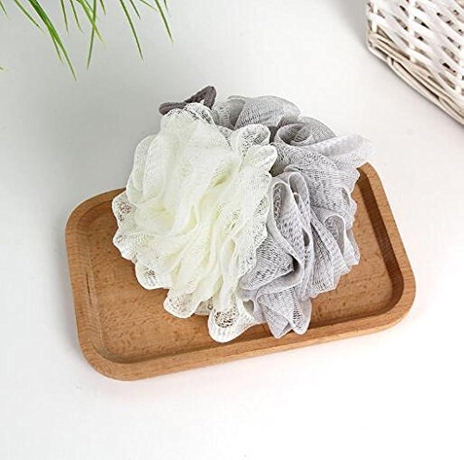 ランク農場偏心[Chinryou] 泡立てネット ボディースポンジ 柔らかい 花形 お風呂用 ボールボディ用 シャボンボール 背中も洗える 泡肌美人 ふわわん (グレー)