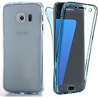 YATATECH Samsung Galaxy S7 Edgeケースカバー 360度全面保護 耐震 衝撃吸収バンパー アンチスクラッチ 防塵 防指紋 超薄い 透明ソフトTPU シリコンケースカバー 軽量ギャラクシー S7エッジ専用ケースカバー(透明 ブルー)