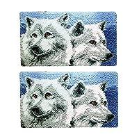 2セット ツール付き ラッチフックキット ラグ 動物パターン 狼 DIY 家 装飾 手工芸品