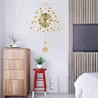 QWE ダイヤモンド象眼細工金属壁時計現代のサイレントサイレントリビングルームの寝室ダイニングルームホームアートデコレーション簡単に組み立てる美しいと省スペース