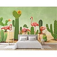 Ansyny カスタム絵画3d壁紙現代北欧手塗りヤシの葉フラミンゴ壁画壁壁紙家の装飾代理-130X100CM