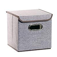 ハンドル収納ボックスリネン生地折りたたみバスケットキューブオーガナイザーボックスコンテナ引き出し付きふた付きオフィス保育園の寝室の棚-9.8インチ (Color : PINK)