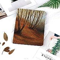 カスタム IPad 2 3 4 ケース オートスリープ機能落ち葉と淡い色の森の静かな秋の午後秋の絵画アート