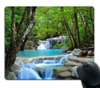 Smooffly Gaming Mouse Pad Custom,Waterfalls Forest Creek Landscape Trees Waterfall Stones Non-Slip Thick Rubber Mouse pad,9.5 X 7.9 Inch (240mmX200mmX3mm) [並行輸入品]