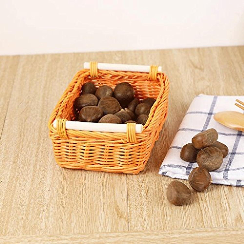 WTL かご?バスケット 籐家の毎日の収納箱の破片の収納バスケット (色 : オレンジ, サイズ さいず : S s)