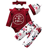 Arleysh Baby Girls Family Matching Clothing Set Little Big Sister Romper Shirt Tops+Gold Heart Long Pants Outfit Set