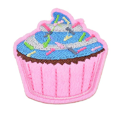 Souarts ケーキ アップリケ アイロン接着 飾り パッチ ピンク ブルー