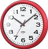 Felio(フェリオ) 電波壁掛け時計 ソーシャルタイム アナログ表示 連続秒針 レッド FEW180R