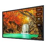プロジェクタースクリーン 壁掛け式 スクリーン フレーム 100インチ 3D フルHD 4K解像度 アスペクト比 16:9 ホームシアター用 可視角度160° PPTプレゼンテーション ビジネス会議 教室 映画 適用
