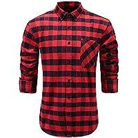 Emiqude Men's Flannel 100% Cotton Slim Fit Long Sleeve Button-Down Plaid Dress Shirt