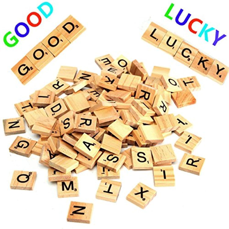 cynken 100個木製Scrabble LettersスクラップブックPlaying Game IQ小道具ワード