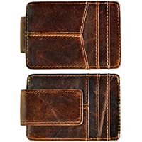 Le'aokuu Genuine Leather Magnet Money Clip Credit Card Case Holder Slim Handy Wallet (coffee)