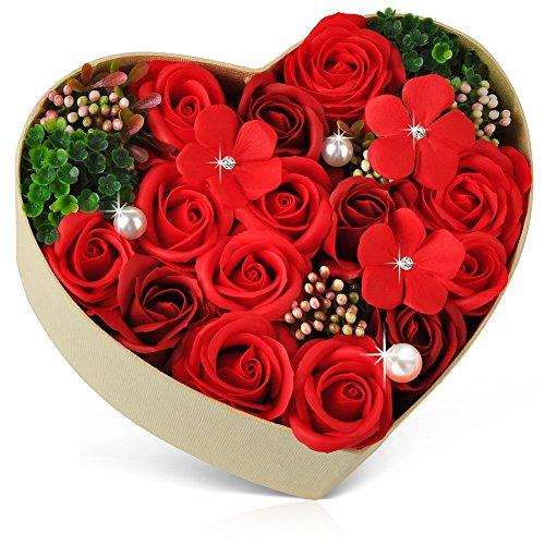 ハロウィン バラ型ソープフラワー ハートフラワー形状ギフトボックス 誕生日 母の日 記念日 先生の日 バレンタインデー 昇進 転居など最適としてのプレゼント EVERJOYS 001