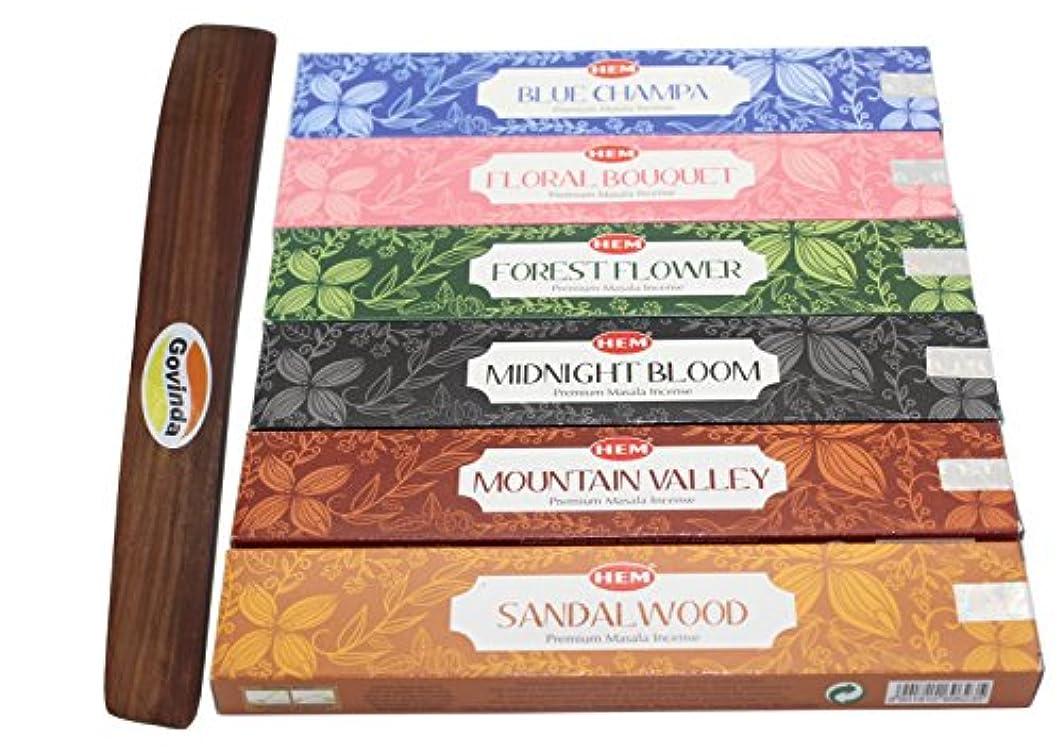 策定する証書警告裾プレミアムIncense – Set of 6 – ブルーChampa、フォレストフラワー、花柄ブーケ、サンダルウッド、Midnight Blossom , and Mountain Valley With ( Govinda Incense Holder )