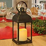 """PetGirl Decorative Lanterns with Timer Candle Light Flameless Candles 9"""" H Indoor/Outdoor Lantern with Hanging use 3AAA Batte"""