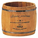 GREENHOUSE ナチュラルウッドプランター 樽L 3078-A-BR ブラウンの写真