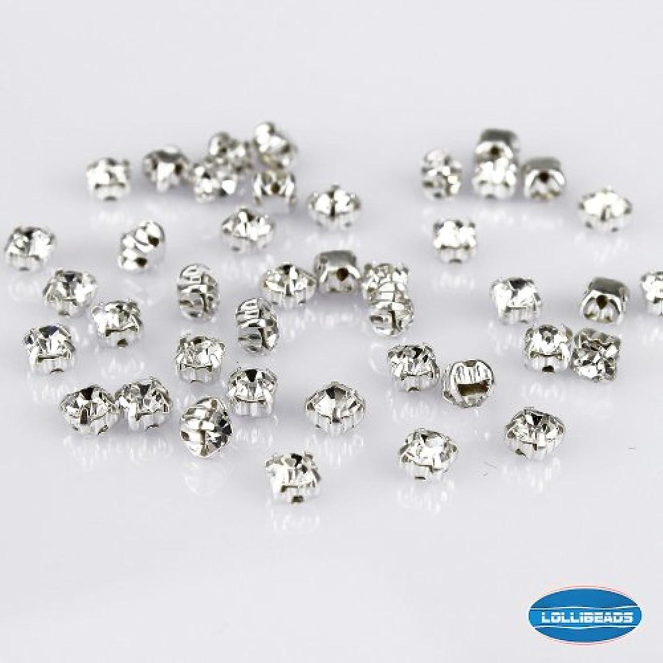 変動するジョグ衣類LolliBeads (TM) 手芸用デコレーションシルバー(銀色) 爪付きラインストーンビーズクリスタル装飾DIY水晶環状ミシンラインストーンチェコグラス,白色 4 mm (100個入れ)