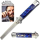 Royal Imperial Metal Switchblade Pocket Folding Flick Hair Comb For Beard, Mustache, Head BLUE CYCLONE Handle...