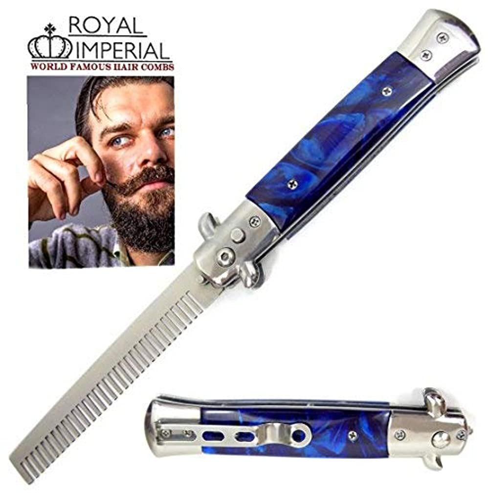 前兆世界に死んだパーフェルビッドRoyal Imperial Metal Switchblade Pocket Folding Flick Hair Comb For Beard, Mustache, Head BLUE CYCLONE Handle...