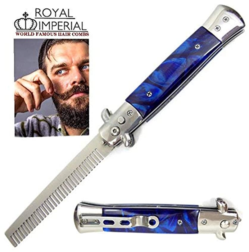 ツールエスニックバレーボールRoyal Imperial Metal Switchblade Pocket Folding Flick Hair Comb For Beard, Mustache, Head BLUE CYCLONE Handle...
