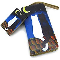 【Black Butterfly】 おしゃれ 月夜に 寄り添う 2匹の 猫 イラスト 長財布 お揃い カードケース付き [並行輸入品]