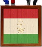 Rikki Knight Tajikistan Flag on Distressed Wood Design 5-Inch Wooden Tile Pen Holder (RK-PH8801) [並行輸入品]