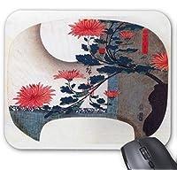 歌川広重、『 四季の生け花:秋 』(団扇絵)のマウスパッド:フォトパッド( 浮世絵シリーズ )