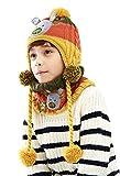 (ビグッド)Bigood 可愛い キッズ ニット帽・スヌード セット 女の子 男の子 ニットキャップ 子供 帽子 暖かい 通学 通園 クリスマス(イエローS)