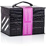 Mixed Beauty Makeup Kits Cosmetic Case Set Eyeshadow Palette Blushes Lip Makeup Jewellery Box MU17 (Black)