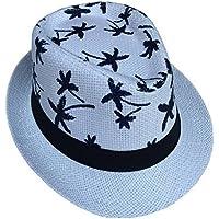 Jixin4you Women Men Fedora Jazz Cap Straw Sun Hat H23
