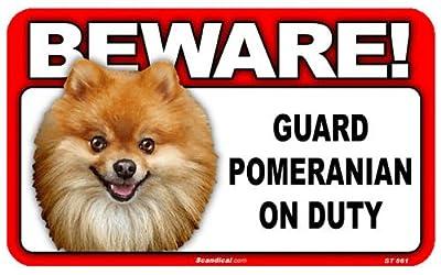 BEWARE!POMERANIAN ラミネートサイン:ポメラニアン 注意 警戒中 Made in U.S.A [並行輸入品]