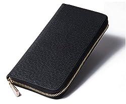 GLEVIO(グレビオ) 財布 シンプルラウンドファスナー 長財布 大容量 メンズ ビジネスマン