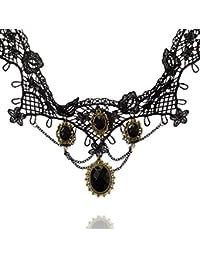 Creativelifeファッションブラックレースブラック宝石ペンダントネックレス