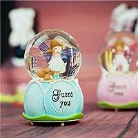 Royarebar クリエイティブ ベビー おもちゃ オルゴール クリエイティブ 寝室 装飾 クリスタル ボール オルゴール 翼付き天使 (フローティング スノーフラック、ブルー)