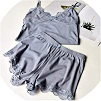 Surprise S Two Piece Set Lace Pajamas Spaghetti Strap Sleepwear High Elastic Pajama Home Clothes,Gray,One Size