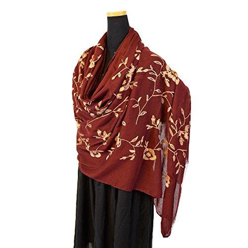 (NEW COLORS)超大判 ゴージャス刺繍 パシュミナストール 花柄 刺繍入ストール  (エンジA)