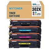 mytoner互換HP 202x cf500X cf501X cf502X cf503Xトナーカートリッジfor use in HP LaserJet m254MFP m280/ m281、高Yield 4パック( 1ブラック, 1シアン、1イエロー、1マゼンタ)