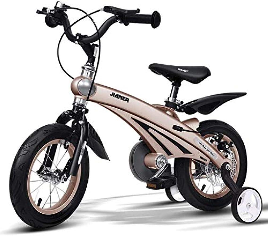 ピルファー賢い見通しバランスバイク、子供用自転車子供用自転車3歳児用自転車4-8歳児用車14インチ自転車(色:シャンパンゴールド、サイズ:98 * 38 * 76cm)