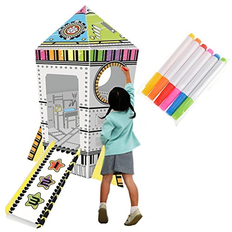 Samber DIYグラフィティ用紙Toys手描きRocket House 3d Painted Children Play Tent早期教育玩具パズルおもちゃグラフィティToys for Kids Children