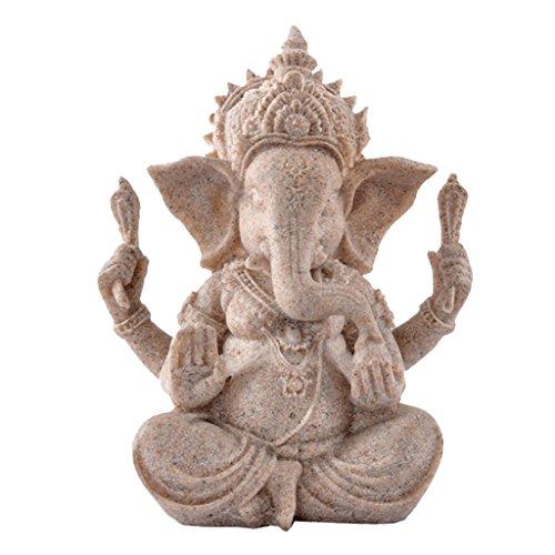 色相砂岩ガネーシャ仏象の像彫刻手作りの置物