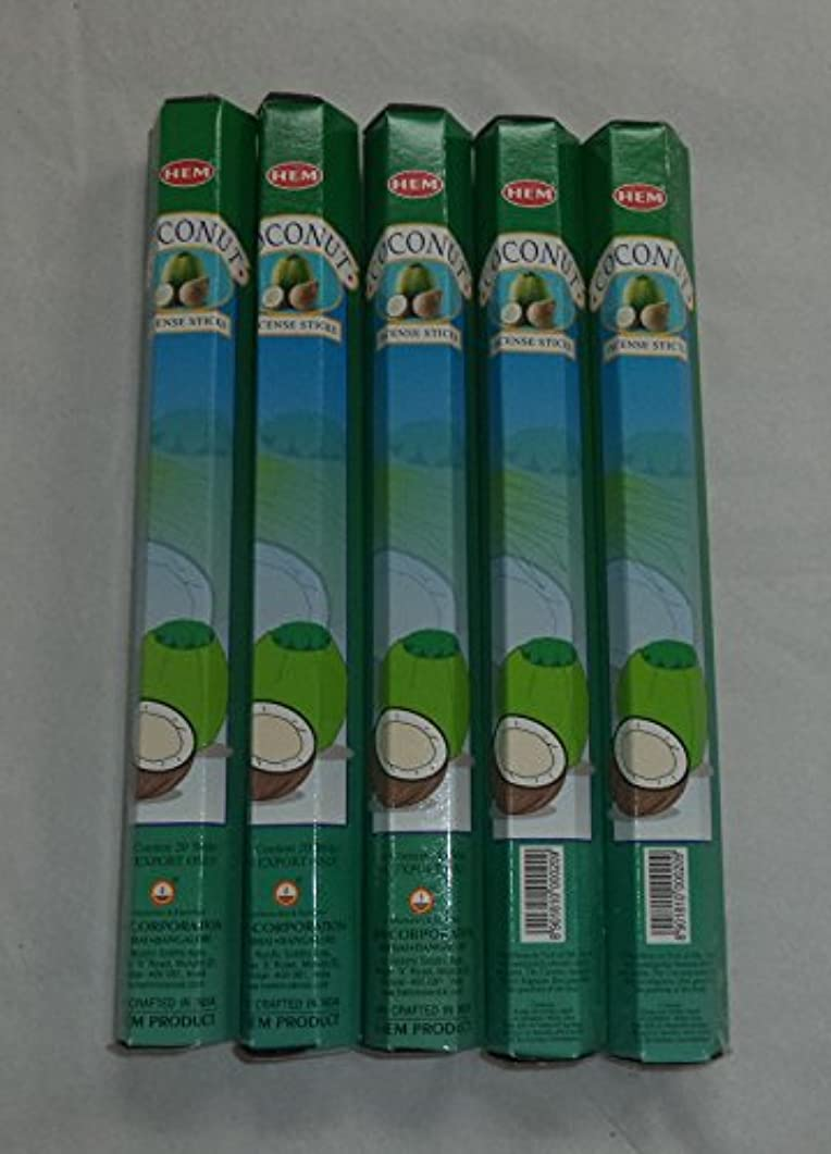 クスコフラフープ中世のHEM Coconut 100 Incense Sticks (5 x 20 stick packs) by Hem