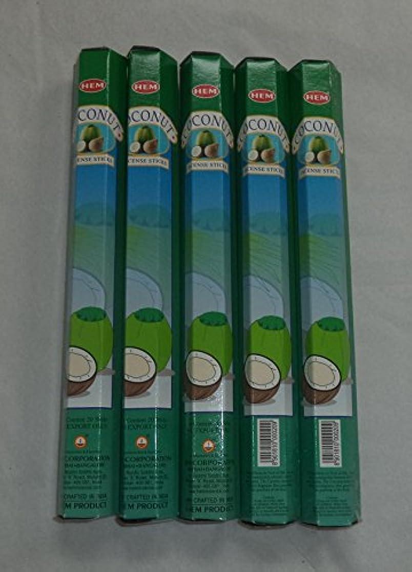 集中敬意を表するサイズHEM Coconut 100 Incense Sticks (5 x 20 stick packs) by Hem