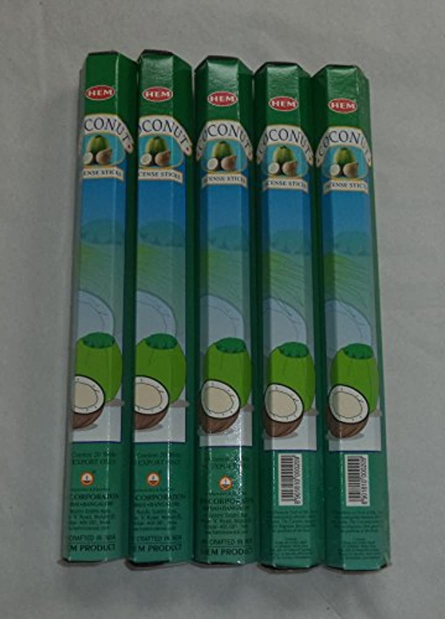立場伝記宣伝HEM Coconut 100 Incense Sticks (5 x 20 stick packs) by Hem