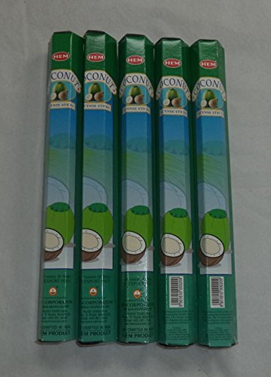 冒険家ソーシャルHEM Coconut 100 Incense Sticks (5 x 20 stick packs) by Hem