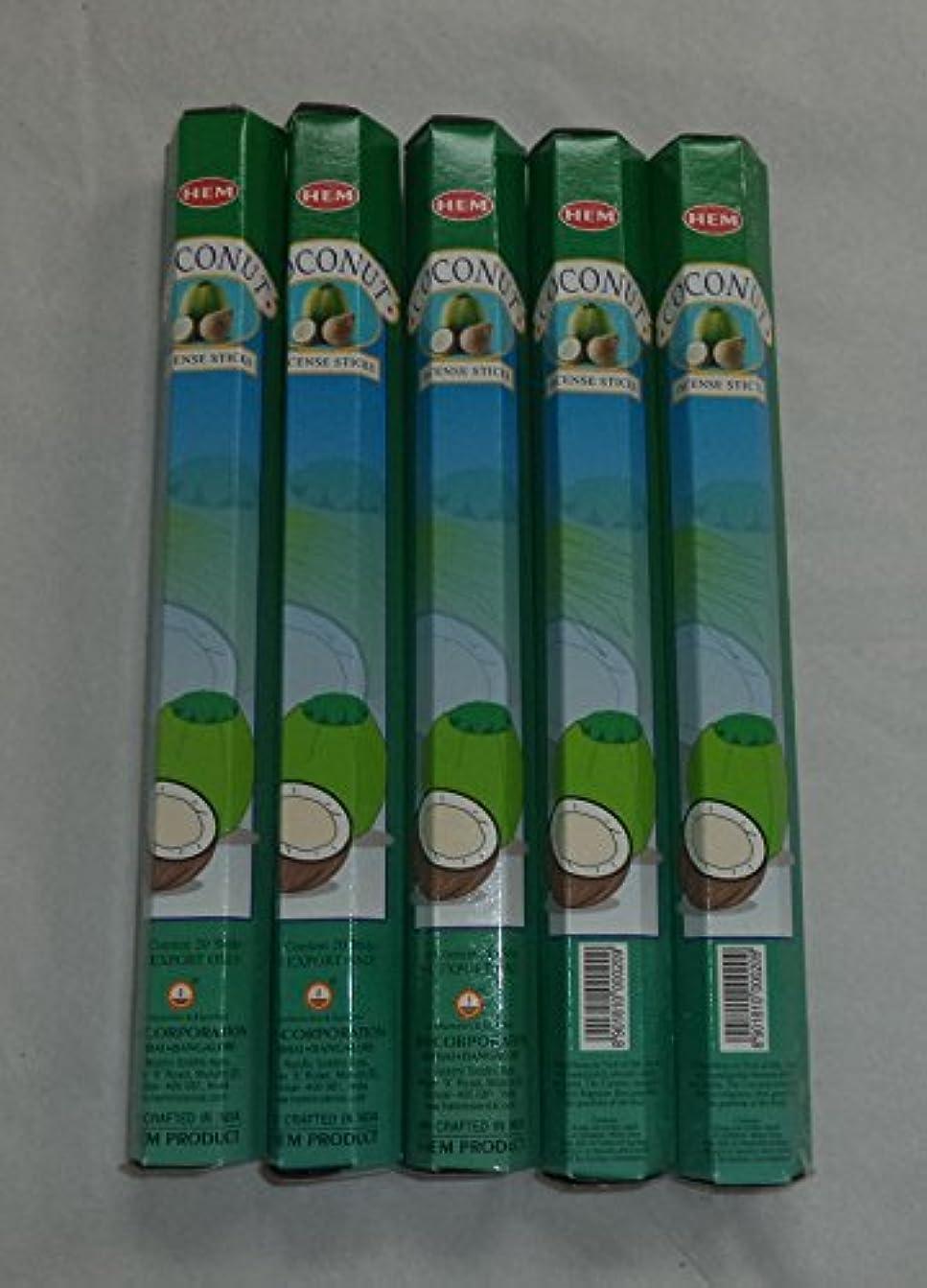 依存こんにちはテスピアンHEM Coconut 100 Incense Sticks (5 x 20 stick packs) by Hem