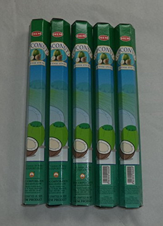 尾オーバーコート遠近法HEM Coconut 100 Incense Sticks (5 x 20 stick packs) by Hem