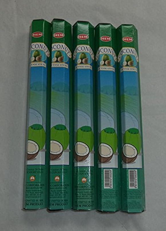 錆びマントドームHEM Coconut 100 Incense Sticks (5 x 20 stick packs) by Hem