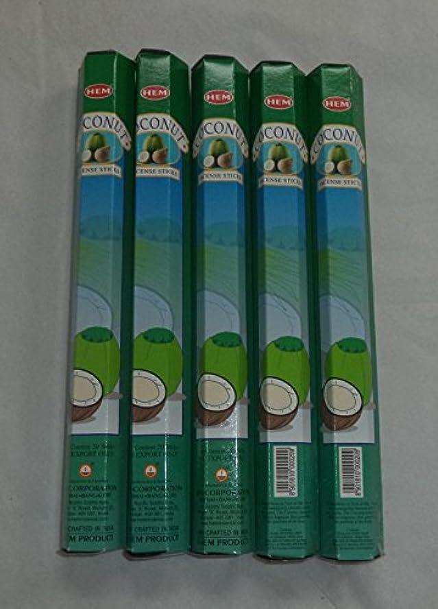 人種リベラル遡るHEM Coconut 100 Incense Sticks (5 x 20 stick packs) by Hem